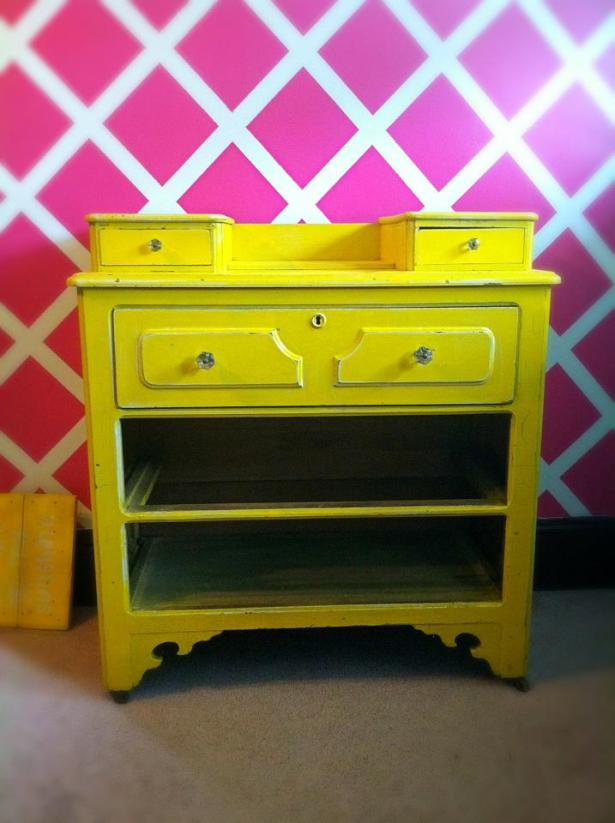 This dresser was found while cleaning out my husbands grandparents house , it was going to be trash , this is mid project , love the sunny yellow.